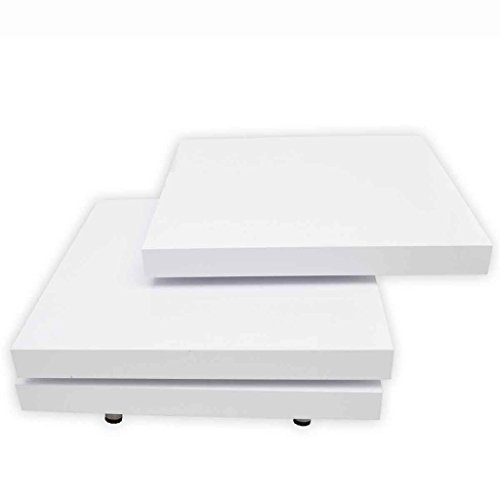 New White//Black High Gloss 3 Layer Shape Adjustable Coffee or Side Table