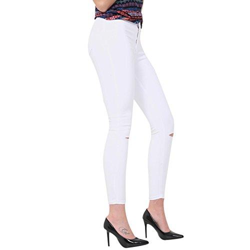 Mujer Skinny Cut Xelay White Para Knee Vaqueros wgCBq5xPtT