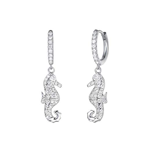 (Carleen White Gold Plated 925 Sterling Silver CZ Cubic Zirconia Seahorse Dangle Drop Small Hoop Earrings For Women Girls)