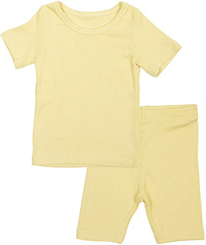 AVAUMA Newborn Baby Little Boys Snug-Fit Pajamas Summer Short Sets Pjs Kids Clothes (JS/Yellow) -