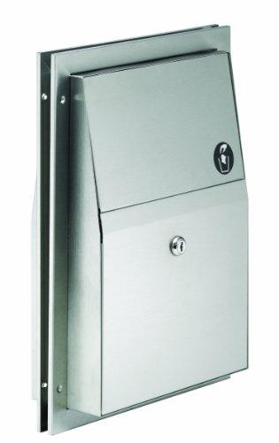 Bradley 4721-150000 Standard 22 Gauge Stainless Steel Partition Mounted Napkin Disposal, 1.5 Gallon Capacity, 12-3/4