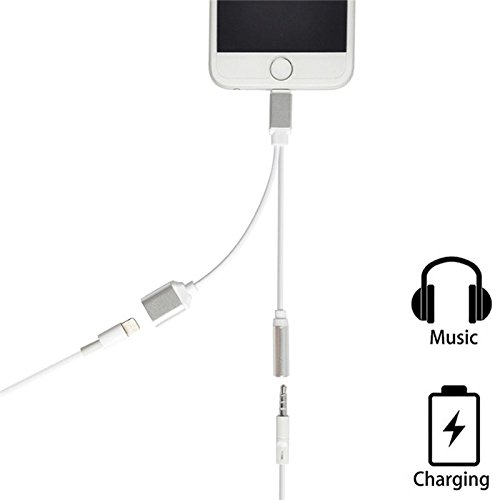 Lightning to 3.5mm Audio Adapter, Aivesta2 in 1 Lightning Charger, Lightning to 3.5mm Aux Headphone Jack Adapter for iphone 7 / 7 Plus / 8 / 8 Plus / X --Silver