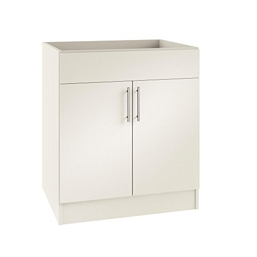 WeatherStrong Assembled 30x34.5x24 in. Miami Open Back Sink Outdoor Kitchen Base Cabinet with 2 Doors in Radiant White (Kitchens Outdoor Miami)