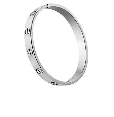 Titanium Steel Screw Hinged Cuff Bangle Bracelet (Silver - No - Rose Titanium