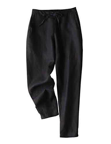 IXIMO Women's Tapered Pants 100% Linen Drawstring Back Elastic Waist Pants Trousers with Pockets Black XS