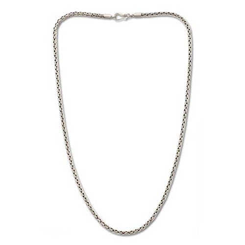 NOVICA .925 Sterling Silver Chain Necklace 'Rice Seeds'