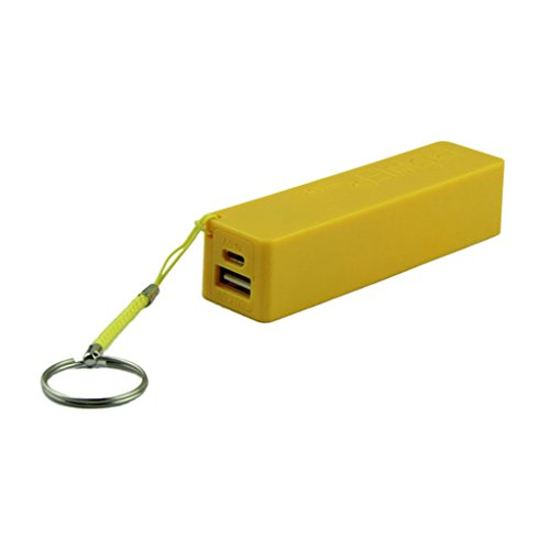 POTO 2017 New Convinient Portable Power Bank 18650 External Backup Battery Charger With Key Chain (Yellow)