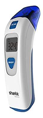 Sharkk Basics Medical Forehead and Ear Thermometer Infrared Dual Scanning Mode LCD Display FDA Approved Digital Thermometer with Memory Recall and Data Group Storage