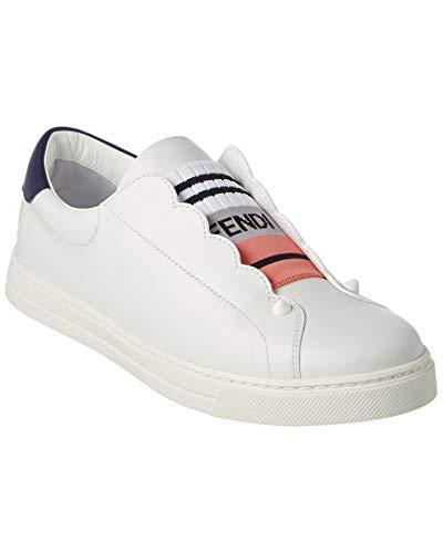 (Fendi Scalloped Leather Slip-On Sneaker, 36, White)