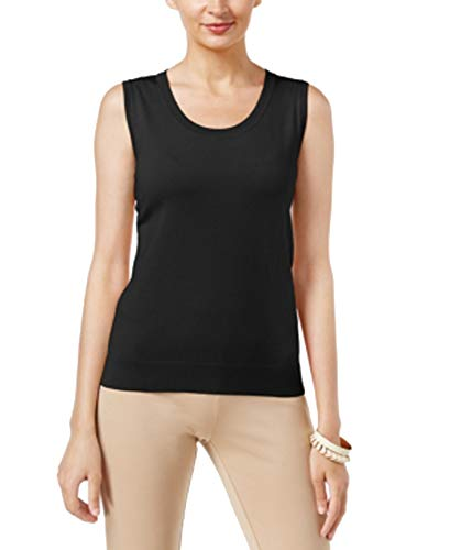 (August Silk Scoop-Neck Shell (Black, XS))