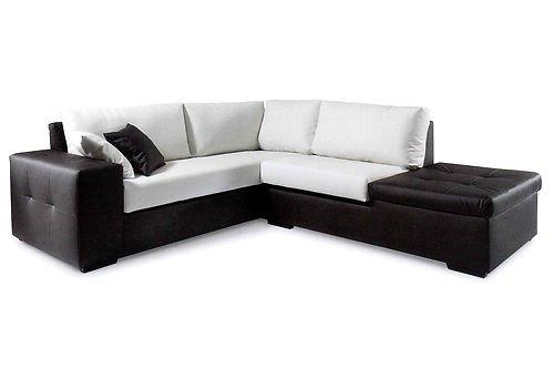 Ecksofa aus Kunstleder mit Ablage, modernes Design, hergestellt in Italien, verschiedene Farben: Weiß, Schwarz, Beige, Taubengrau