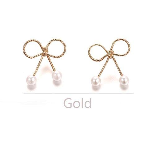 y Bowknot Stud Earrings Jewelry Faux Pearls (Gold) (Butterfly Faux Earrings)