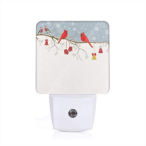 Colorful Plug in Night,Colorful Christmas Illustration with Bullfinches and Hanging Ornaments and Mittens,Auto Sensor LED Dusk to Dawn Night Light Plug in Indoor for Childs Adults -