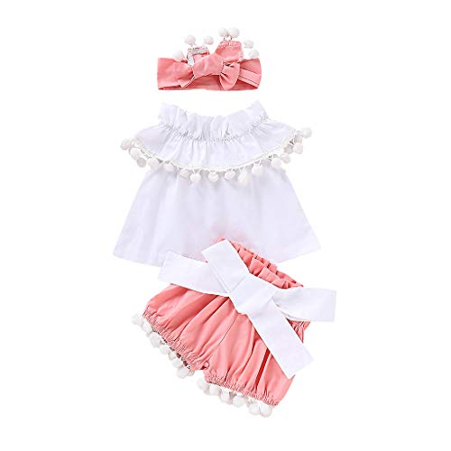 Kehen- Infant Baby Toddler Girl Summer Clothes 3pc White T-Shirt Top with Pompom + Shorts Pants + Headband White 12-18 Months