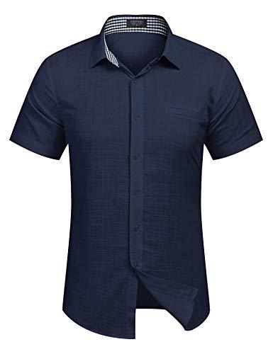 COOFANDY Men's Regular-Fit Short-Sleeve Solid Linen Cotton Shirt Casual Button Down Shirt (Large, Navy Blue) (Navy Blue Short Sleeve Button Down Shirt)