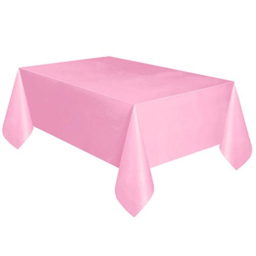 (HHBack Large Plastic Rectangle Table Cover Cloth Wipe Clean Party Tablecloth Covers (Pink))