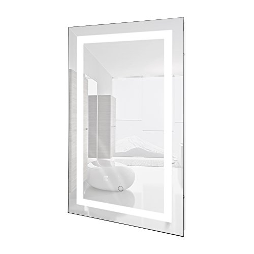 Led Lighted Wall Mount Vanity Bathroom Mirror Icon With Built In Defogger Fog Free Vertical