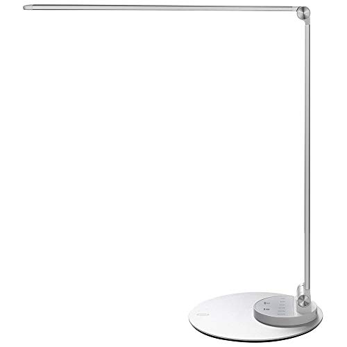 TaoTronics Aluminum Alloy Dimmable LED Desk Lamp with USB Charging Port, Table Lamp for Office Lighting, 3 Color Modes & 6 Brightness Levels, Silver, Philips Enabled Licensing Program