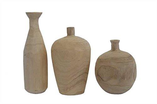 Paulownia Wood Vases - 2 Sets of 3