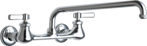CHICAGO FAUCETS GIDDS-283719 Lead-Free Hot And Cold Water Sink Faucet with 8-Inch Fixed Centers And 12-Inch L-Type Swing Spout - Chicago Faucets Sink Faucet
