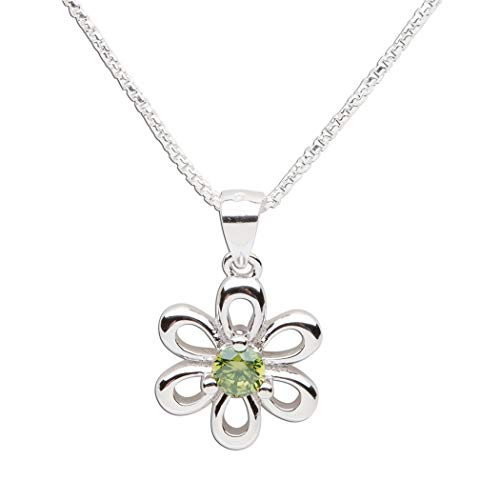 Girls Sterling Silver Daisy Simulated August Birthstone Necklace for Children