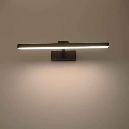 Yafido Aplique Espejo Bano Interior LED 12W Blanco Neutro 4000K 1000LM 50CM Negro luz Bano Lampara para Maquillaje