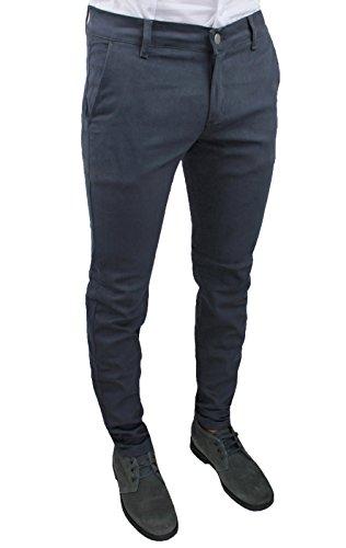 Pantaloni uomo C. Battistini Jeans grigio scuro sartoriale slim fit aderente invernale casual (46)