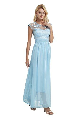 Xinsilu Women's Sleeveless O Neck Lace Elegant Maxi Cocktail Evening Dress for Women Party Wedding (L, Pale - Blue Dress Lace Pale