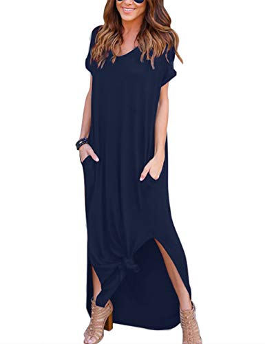 AKEWEI Summer Maxi Dresses for Women,V Neck Short Sleeve Long Dresses & Plain Loose Casual Beach Dress with Pocket