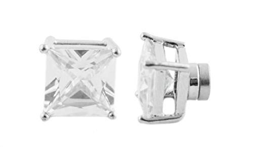 Steel Round Bezel Stud Earrings 8mm (Silver) - 3