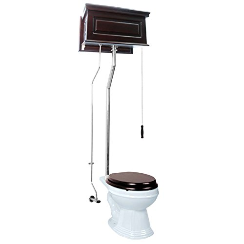 Dark Oak High Tank Pull Chain Toilet With White Elongated Toilet Bowl And L-Pipe Pull Chain Toilet