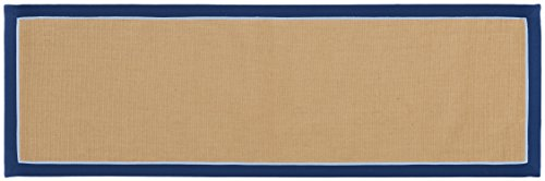 Boucle Weave (Home Furnishings by Larry Traverso durable York micro boucle jute runner with double color cotton framed border, slip resistant latex backing,2-1/2-Feet by 8-Feet, Navy, four colors available)