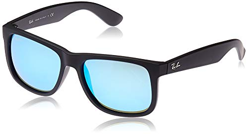 RAY-BAN RB4165 Justin Rectangular Sunglasses, Black Rubber/Blue Mirror, 55 mm (Blue Ban Sunglasses Ray Mirror)