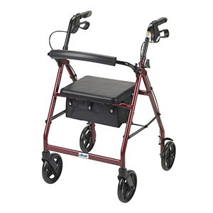 R728RD - Aluminum Rollator with Fold Up and Removable Back Support and Padded Seat, Red