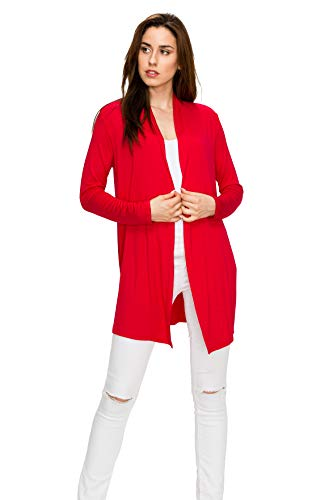 EttelLut Long Open Front Lightweight Cardigan Sweaters Regular and Plus Size Red L