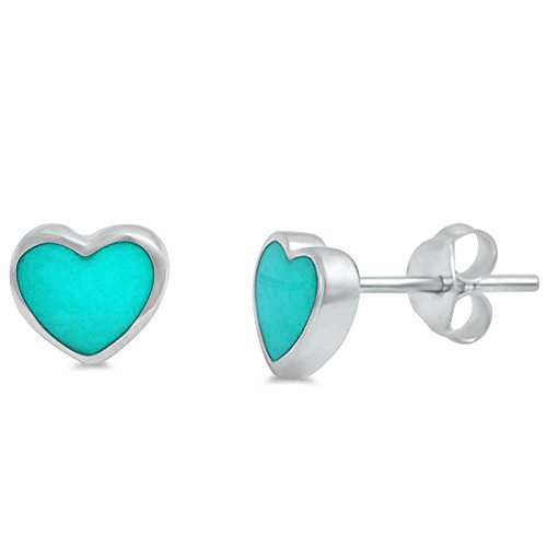7mm Tiny Small Heart Stud Earrings Simulated Green Turquiose 925 Sterling Silver