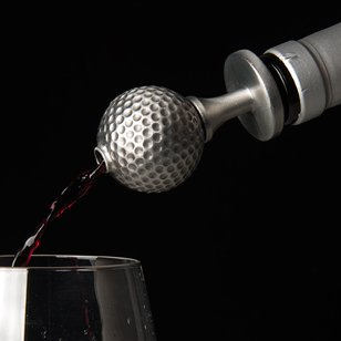 Stainless Steel Golf Ball Wine Aerator Pourer - Deluxe Decanter Spout for Robust Red and White Wine - Pour Amore Bottle Pourer/Stopper & Air Diffuser by Chris's Stuff by Chris's Stuff