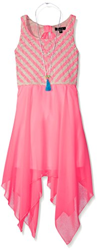 veless Striped Lace Bodice with Chiffon Skirt, Neon Pink, 14 (Bodice Chiffon Skirt)