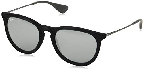 - Ray-Ban RB4171 Erika Round Sunglasses, Black Velvet/Grey Mirror, 54 mm