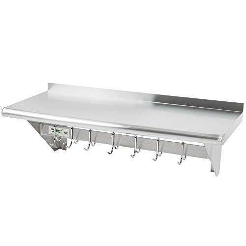 NSF Approved Stainless Steel Wall Mounted Pot Rack with Shelf and 18 Galvanized Hooks (15 X ()