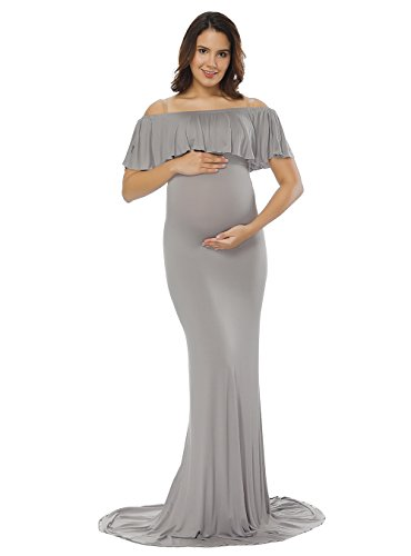 (JustVH Women's Off Shoulder Ruffles Maternity Slim Fitted Gown Maxi Photography Dress Gray)