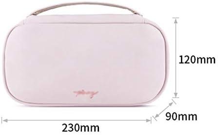 化粧品収納ボックス 多層化粧品バッグポータブルトートバッグ大容量ウォッシュバッグPU素材金属ジッパー拡大ハンドルピンクブルーイエローシルバー QTKGG (Color : Pink)