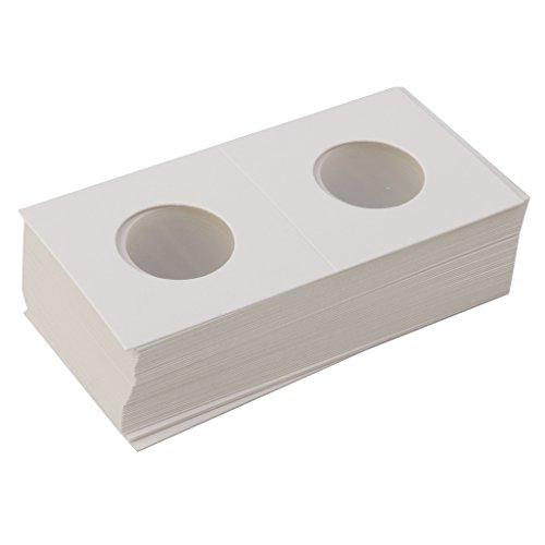 SM SunniMix 50pcs 33mm 2x2 Cardboard Mylar Coin Holders Flips, Protection Display Collection Organizer
