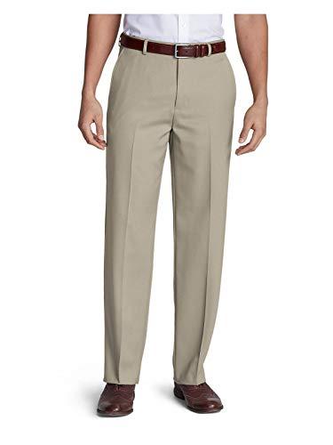 - Eddie Bauer Men's Relaxed Fit Flat-Front Wool Gabardine Trousers, Tan Regular 42