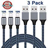 iPhone Charger,Lightning Cable 3Pack 10Ft Sundix iPhone Charger Cable Nylon Braided Charging Cable