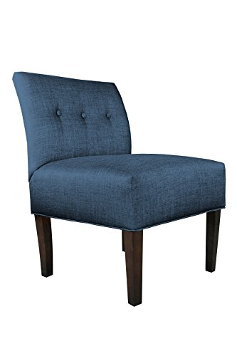 MJL Furniture Designs Samantha Collection Fabric Upholstered Button Tufted Living Room Accent Guest Chair, Key Largo Series, Denim