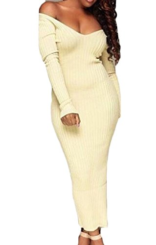 White Neck Winter Knit Autumn V Club Collar Beige Sexy Dress Women's Comfy Cutaway qFw1xBp7F