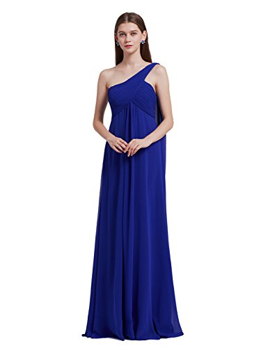 Beaded Empire Waist Prom Dress - Ever-Pretty Womens One Shoulder Empire Waist Long Prom Dress 6 US Sapphire Blue