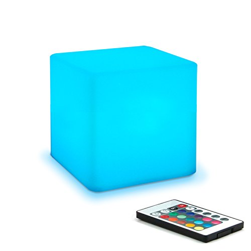 Mr.Go 4-inch Dimmable LED Night Light Mood Lamp for Kids and Adults - 16 RGB Colors - 5 Level Dimming - 4 Lighting Effects - Rechargeable - Remote Control - Decorative - Fun and Safe - White Finish (Lamp Colored)