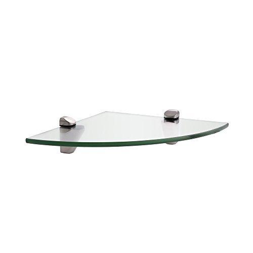 KES BGS3102-2 Lavatory Bathroom Corner Tempered Glass Shelf 8MM-Thick Wall Mount Triangular, Brushed Nickel